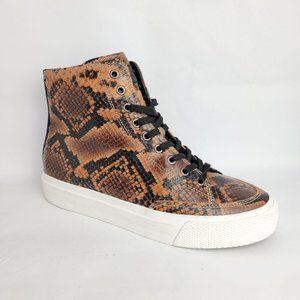 NEW Rag & Bone High Top Sneakers Brown Embossed 8